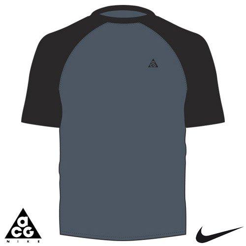 Nike ACG–Camiseta para hombre SS Crew Dri-Fit Base Layer, Flint Grey/Black/Black