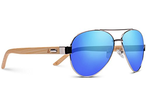 TREEHUT Wooden Bamboo Sunglasses Temples Classic Aviator Retro Metal Frame Top Gun Wood Sunglasses (Silver Frame, Blue - Sustainable Sunglasses