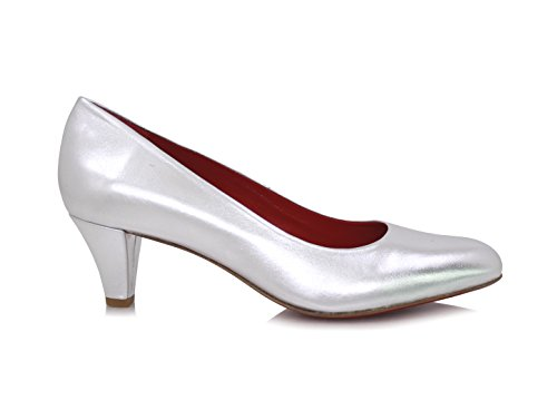 3559d4dd46cb Diamond Heels Pumps Breiter Absatz 5cm Silber Metallic Silber ...