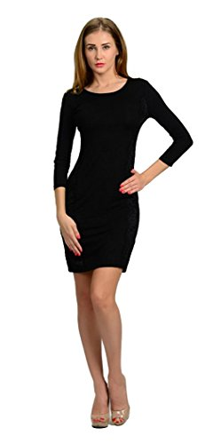 lace paneled bodycon dress - 5