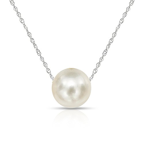 14k White Gold Delicate Statement Necklace with 11-11.5mm White Freshwater Cultured Pearl