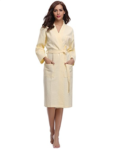 Yellow Spa Wrap (Aibrou Women's Hotel Spa Kimono Collar Robe Bathrobe Waffle Weave Wrap Robe)
