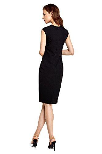 Schwarz und Nife mit Kurzen Kleid V Ärmeln Abendkleid Ausschnitt Damen Businesskleid 4Wgq0v4