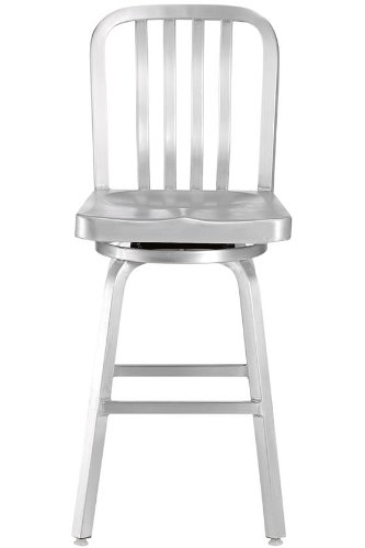 Sandra Counter Stool, SWIVEL, BRUSHED ALUMINM (Aluminum Barrel And Crate Stools)