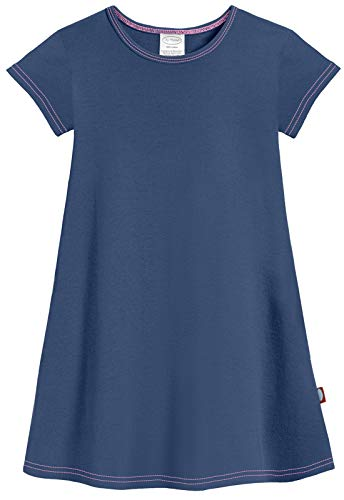 City Threads Baby Girls' Cotton Short Sleeve Cover Up Dress for Sensitive Skin SPD Sensory Friendly, Midnight, 18/24m