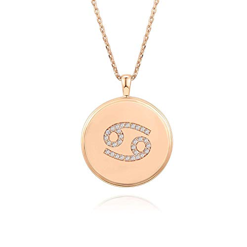PAVOI 14K Rose Gold Plated Astrology Coin Constellation Necklace | Dainty Necklace for Women - Cancer