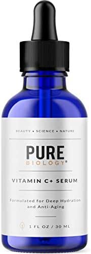 Pure Biology Premium Vitamin C Serum (30%) with Hyaluronic Acid, Vitamin E & Anti Aging Complex to Smooth Wrinkles & Brighten Skin Tone for Men & Women (1 oz)