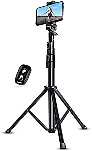 """UBeesize 51"""" Extendable Tripod Stand with Bluetooth Remote for iPhone Android Phone, Heavy Duty Aluminum,"""