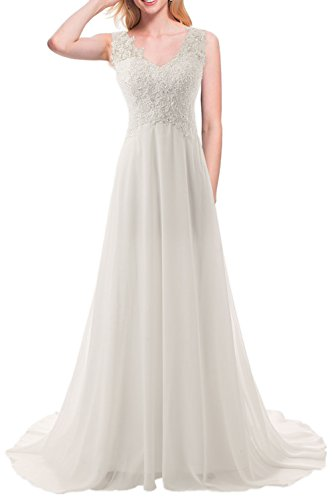 JAEDEN Wedding Dress Beach Bridal Dresses Lace Wedding Gown A Line Bride Dress (US14, Ivory)
