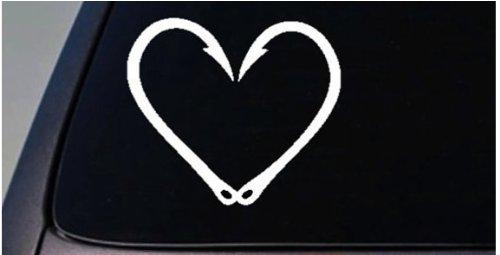 Fishing Hook heart Vinyl Car Window Decal bass fly trout stream mountain rod reel Cute *C525*