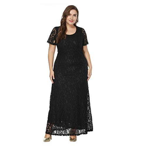 (TnaIolral Women Dresses Solid Oversize Vintage Floral Lace Plus Size Cocktail Formal Swing Skirt Black)