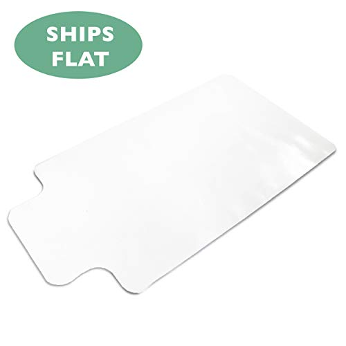 Office Chair Mat with Lip for Hard Floors 48 x 36 - Clear Hardwood Mat for Desk Chairs - Ships Flat ()