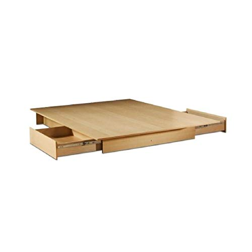 Bed Frames, Full/Queen Size Maple Platform Bed Frame with Storage Drawers ()