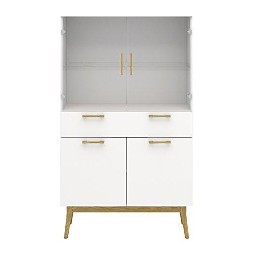 Tvilum 90080/0749mm Retro1 Drawer, 4 Door China Cabinet, White/Solid Oak