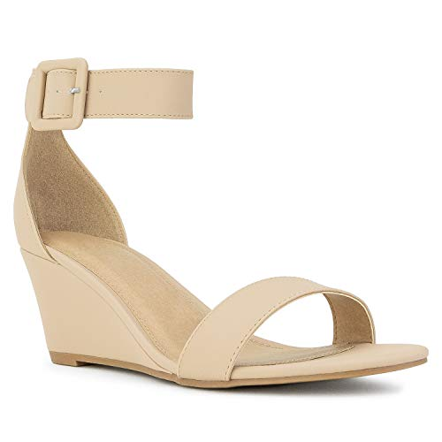 (RF ROOM OF FASHION Women's Ankle Strap Mid Heel Wedge Sandals Nude Size.6)