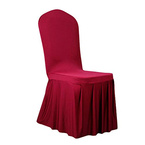 BROSCO Decorative Skirt Elastic Spandex Wedding Dining Seat Banquet Chair Covers | Color - Wine Red