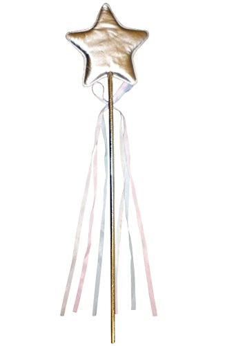44cm Silver Material Star Fairy Wand with Pink/White/Blue Tassles (White Star Wand)