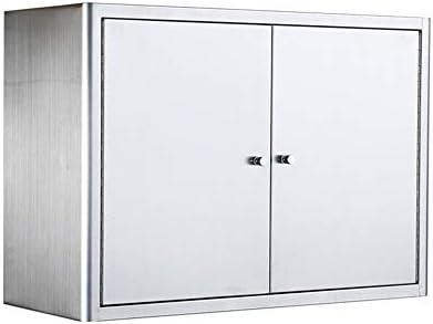 ウォールキャビネット 可動棚とキャビネットをぶら下げ浴室医学キャビネット2ドアウォールキャビネット、ステンレス鋼 吊り戸棚 (Color : Silver, Size : 80x50x25cm)