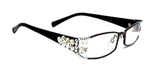 Lollapalooza, Bling Women Reading Glasses with AB (Aurora Borealis) + Crystal Clear Swarovski Crystals +1.25 +1.50 +1.75 +2.00 +2.25 +2.50 +2.75, Black Frame, Fancy Oval Big Crystal. NY Fifth Avenue. (Fifth Avenue Crystal Aurora)