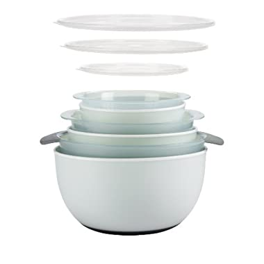 OXO Good Grips 9-Piece Nesting Bowls and Colanders Set, Sea Glass