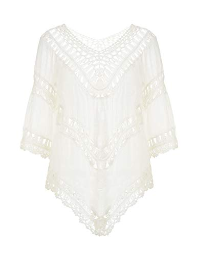 Ladies Crochet - Ferand Ladies' Hollow Out Crochet V-Neck Poncho Tunic Top, One Size, White