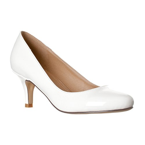 Riverberry Women's Ruby Round Toe, Kitten Low Height Pump Heels, White Patent, 7