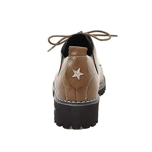 Allacciare Puro Tacco Cachi Flats AgooLar Ballet Basso GMMDA006130 Luccichio Donna wvn4f5