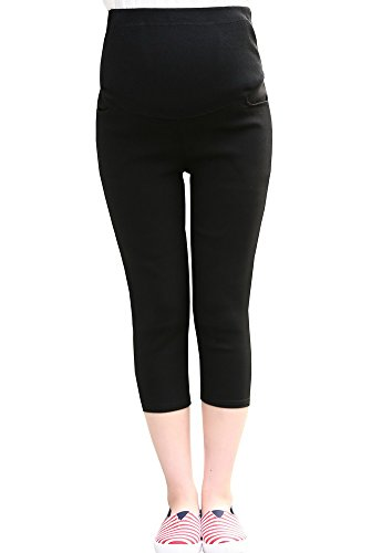 Waist Maternity Crop Pants - Foucome Maternity Full Coverage Skinny Leg Maternity Leggings Stretchy Crop Pants for Pregnant Woman Black