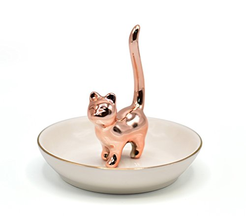 Rose Gold Kitty Jewelry Tray Ceramic Trinket Dish Porcelain Ring Holder