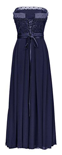 Juju&Christine Abendkleid Ballkleid Festkleid Hochzeitskleid Chiffon 1522 Marineblau