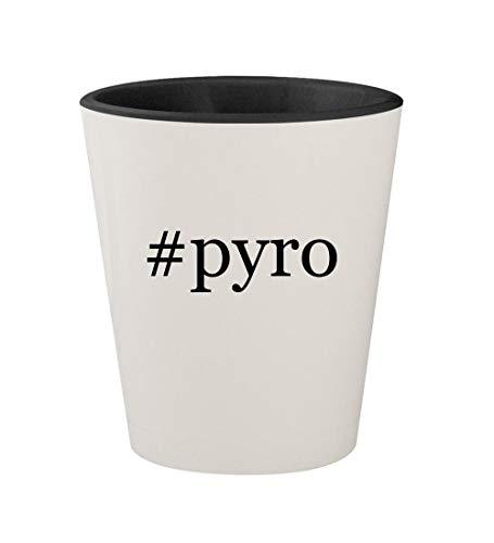 (#pyro - Ceramic Hashtag White Outer & Black Inner 1.5oz Shot Glass )