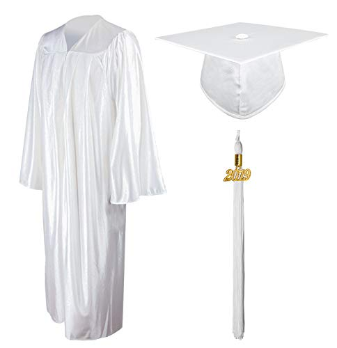 GraduationMall Shiny Graduation Gown Cap Tassel Set 2019 for High School White -
