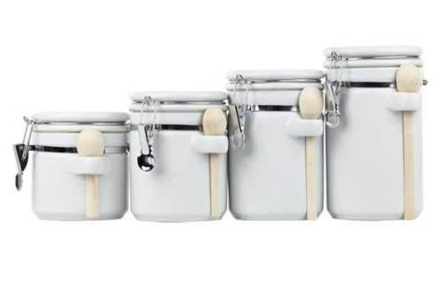 Classic Vintage Design 4 Pieces Storage Canister Ceramic Set Spoon (White) Perfect Place To Store Your Flour, Sugar, Cereal