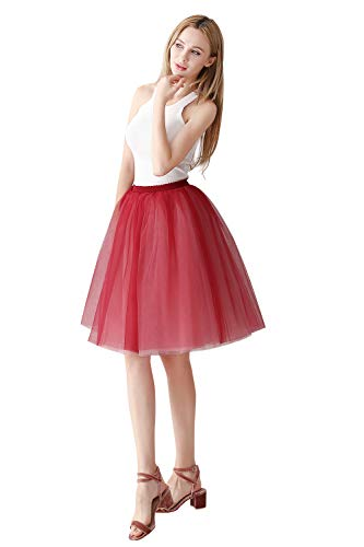 MisShow Women's Wedding A Line Short Knee Length Tutu Tulle Prom Party Skirt