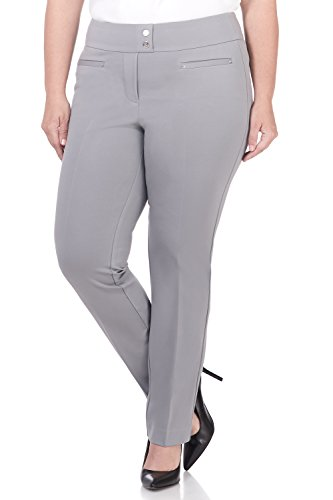 Rekucci Curvy Woman Secret Figure Knit Plus Size Straight Pant w/Tummy Control (18W,Silver)