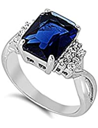 Wedding Engagement Ring Emerald Cut Simulated Deep Blue Sapphire Round Cubic Zirconia 925 Sterling Silver