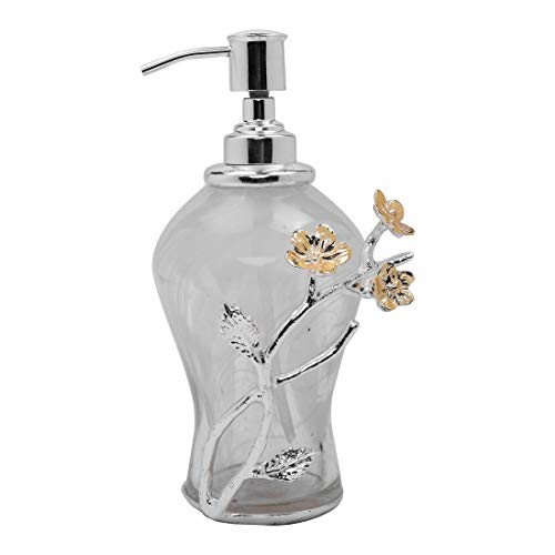 Decozen The Wild Flower White Onxy Glass Soap Dispenser Silver-Plated & Gold Finished Brass Wildflowers & Leaves Lotion & Liquid Soap Smooth Dispensing Elegant Soap Dispenser 5.51 x 3.94 x 7.68 inches ()
