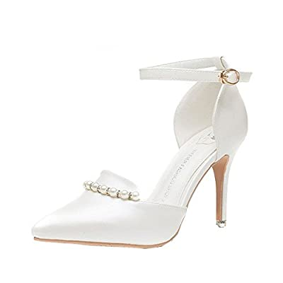 An'Dee Women's Fashionable Elegance Leather Pearl Decorating Pointed Toe High Heel Shoes