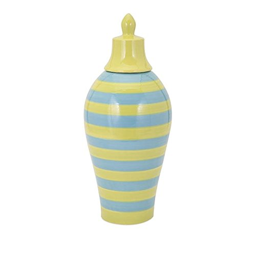 Imax 94352 Savannah and Striped Lidded Vase - Large, Green/Blue
