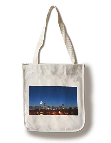 Lantern Press Denver, Colorado - Skyline with Moon - Photography A-94088 (100% Cotton Tote Bag - Reusable)