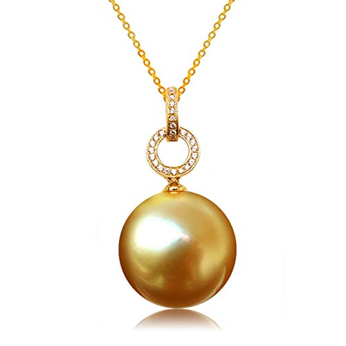 Round Pearl Sea South Green (AAA 18 inches Round 13-14mm South sea Cultured Yellow Golden Pearl Necklace Pendant 18K Gold)