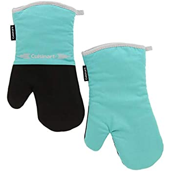 Cuisinart Neoprene Oven Mitts, 2pk - Non-Slip Heat Resistant Gloves Protect Hands and Surfaces from Hot Cookware, Bakeware, Kitchen Items - Ideal Kitchen Set with Hanging Loop - Turquoise with Grey