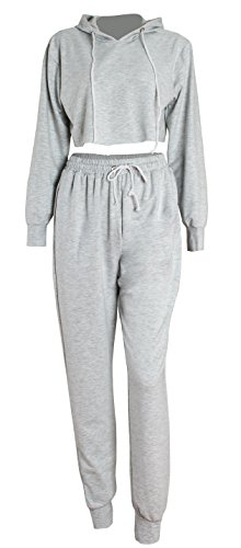 WorkTd Women's Crop Top Hoodie Pant 2 Pcs Sweatsuit Set Sports Outfit Grey M by WorkTd (Image #2)
