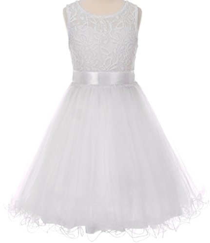 Sweetheart Headpiece (Little Girls Sweetheart Soft Embroidered Bodice Tulle Scarf Ribbon Flower Girls Dresses (50C02C) White 6)