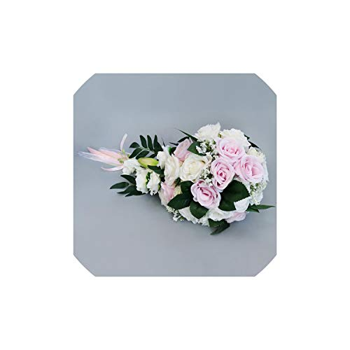 APROUDROSE Wedding Bride Bouquet Hand Tied Flower Decoration Holiday Party Supplies,Pink
