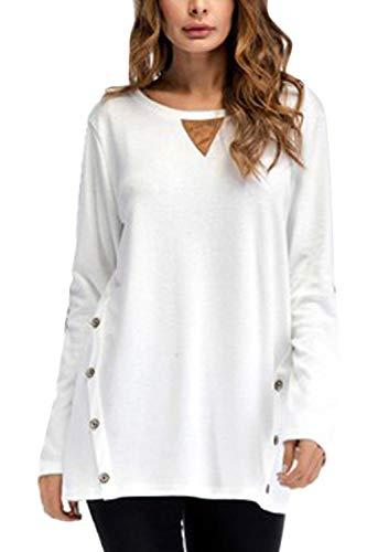 Shirt Blanc Manches Tops Femmes Longues De Occasionnel T Tunique Base Chemisier 8BRvR