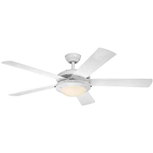 """Westinghouse 7200800 Comet Two-Light 52"""" Five-Blade Indoor/Outdoor Ceiling Fan, White with Frosted Glass"""