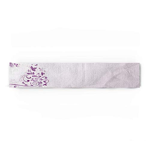 Mauve Cotton Linen Table Runner Rectangle Plate Mat Outdoor Rug Runner for Coffee Dining Banquet Home Decor, Curved Flower Leaf Ornate Blooming Branches Romantic Love Figures Artsy Print, 14x72 inch