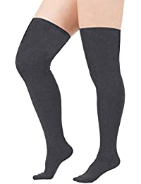 7470d325b80 Women Plus Size Thigh High Stockings Thin Over the Knee Tube Socks Long  Sport Tights Striped