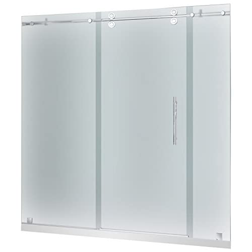 "Aston SDR978F-TR-SS-72-10-R Langham Completely Frameless Frosted Glass Sliding Shower Door in Stainless Steel Finish with Base and Right Drain, 72"" x 77.5"" hot sale 2017"